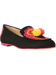 Bamboo Canvas Loafers - predominant colour: black; occasions: casual, evening; material: suede; heel height: flat; toe: round toe; style: loafers; trends: fluorescent; finish: fluorescent; pattern: patterned/print; embellishment: pompom