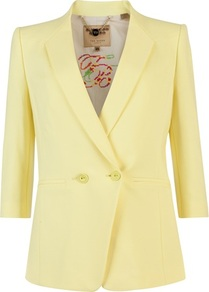Ted Baker Meeda Double Breasted Blazer - pattern: plain; style: double breasted blazer; collar: standard lapel/rever collar; predominant colour: primrose yellow; occasions: evening, work, occasion; length: standard; fit: tailored/fitted; fibres: polyester/polyamide - stretch; sleeve length: 3/4 length; sleeve style: standard; texture group: crepes; collar break: medium; pattern type: fabric; pattern size: standard