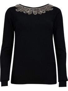 Ted Baker Koto Embellished Jumper - neckline: round neck; bust detail: added detail/embellishment at bust; back detail: cowl/draping/scoop at back; style: standard; shoulder detail: contrast pattern/fabric at shoulder; predominant colour: black; occasions: casual, evening, work, occasion; length: standard; fibres: cotton - mix; fit: slim fit; waist detail: fitted waist; sleeve length: long sleeve; sleeve style: standard; trends: metallics; pattern type: knitted - fine stitch; pattern size: small &amp; light; texture group: jersey - stretchy/drapey; embellishment: beading