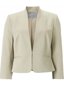 Camellia Jacket - pattern: plain; style: single breasted blazer; predominant colour: stone; occasions: evening, work, occasion; length: standard; fit: tailored/fitted; fibres: cotton - 100%; sleeve length: 3/4 length; sleeve style: standard; texture group: cotton feel fabrics; collar break: medium; pattern type: fabric