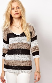 Stripe Tape Jumper - neckline: low v-neck; pattern: horizontal stripes; length: below the bottom; style: standard; predominant colour: mid grey; occasions: casual, work; fibres: cotton - mix; fit: standard fit; sleeve length: 3/4 length; sleeve style: standard; texture group: knits/crochet; pattern type: knitted - other; pattern size: standard