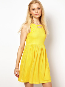 Chelsea Girl Cut Out Skater Dress - length: mid thigh; pattern: plain; sleeve style: sleeveless; waist detail: fitted waist; predominant colour: yellow; occasions: casual, holiday; fit: fitted at waist &amp; bust; style: fit &amp; flare; neckline: peep hole neckline; fibres: nylon - mix; hip detail: soft pleats at hip/draping at hip/flared at hip; sleeve length: sleeveless; pattern type: fabric; texture group: other - light to midweight