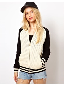 Baseball Jacket - collar: round collar/collarless; shoulder detail: contrast pattern/fabric at shoulder; style: baseball; predominant colour: ivory; occasions: casual; length: standard; fit: straight cut (boxy); fibres: cotton - mix; sleeve length: long sleeve; sleeve style: standard; collar break: low/open; pattern type: fabric; pattern size: standard; texture group: jersey - stretchy/drapey