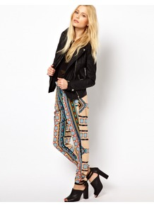 Drape Trouser In Moroccan Print - length: standard; waist detail: elasticated waist; waist: mid/regular rise; occasions: casual, evening, work, holiday; fibres: polyester/polyamide - 100%; hip detail: added detail/embellishment at hip; predominant colour: multicoloured; trends: statement prints, modern geometrics; fit: slim leg; pattern type: fabric; pattern size: big & busy; pattern: patterned/print; texture group: jersey - stretchy/drapey; style: standard