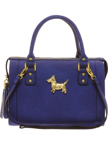 Bowler Bag With Scotty Dog Fitting - predominant colour: royal blue; occasions: casual, work, holiday; type of pattern: standard; style: bowling; length: handle; size: standard; material: faux leather; pattern: plain; finish: plain; embellishment: chain/metal