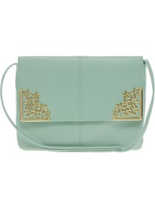 Clutch Bag With Flower Metal Corners - predominant colour: pistachio; occasions: casual, evening, occasion; type of pattern: standard; style: clutch; length: hand carry; size: small; material: faux leather; pattern: plain; finish: plain; embellishment: chain/metal