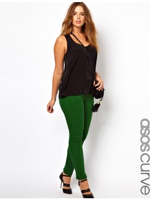 Curve Skinny Jean In Green - style: skinny leg; length: standard; pattern: plain; pocket detail: traditional 5 pocket; waist: mid/regular rise; predominant colour: emerald green; occasions: casual, evening; fibres: cotton - stretch; texture group: denim; pattern type: fabric