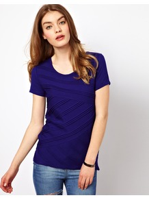 Jersey Shell Top With Pleating - neckline: round neck; pattern: plain; bust detail: ruching/gathering/draping/layers/pintuck pleats at bust; predominant colour: navy; occasions: casual, work; length: standard; style: top; fibres: viscose/rayon - stretch; fit: body skimming; sleeve length: short sleeve; sleeve style: standard; pattern type: fabric; texture group: jersey - stretchy/drapey