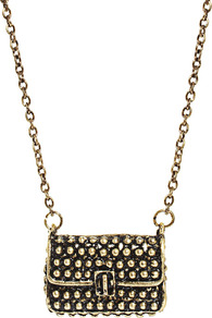 Gurla Purse Pendant Necklace - predominant colour: gold; occasions: casual, evening, holiday; style: pendant; length: long; size: standard; material: chain/metal; finish: plain; embellishment: chain/metal
