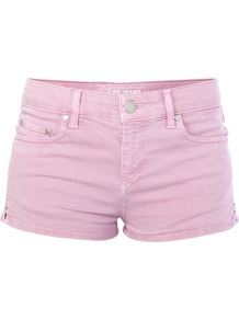 Leggy Pop Mini Shorts - pattern: plain; style: shorts; length: short shorts; waist: mid/regular rise; predominant colour: pink; fibres: cotton - stretch; texture group: denim; occasions: holiday; fit: slim leg; pattern type: fabric