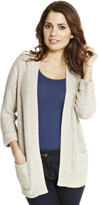 Short Stitch Edge To Edge Cardigan - pattern: plain; length: below the bottom; neckline: collarless open; style: open front; predominant colour: stone; occasions: casual, work; fibres: acrylic - mix; fit: loose; sleeve length: long sleeve; sleeve style: standard; texture group: knits/crochet; pattern type: knitted - other; pattern size: standard