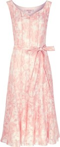 Pink Burnout Prom Dress - neckline: v-neck; fit: fitted at waist; sleeve style: sleeveless; style: prom dress; waist detail: belted waist/tie at waist/drawstring; predominant colour: pink; occasions: evening, occasion; length: on the knee; fibres: polyester/polyamide - mix; hip detail: structured pleats at hip; sleeve length: sleeveless; texture group: sheer fabrics/chiffon/organza etc.; bust detail: tiers/frills/bulky drapes/pleats; pattern type: fabric; pattern size: standard; pattern: florals