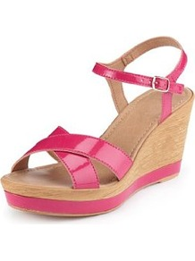 Open Toe Crossover Strap Wedge Sandals - predominant colour: hot pink; occasions: casual, holiday; material: faux leather; heel height: high; embellishment: buckles; ankle detail: ankle strap; heel: wedge; toe: open toe/peeptoe; style: strappy; finish: patent; pattern: plain