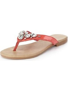 Jewel Toe Sandals - predominant colour: coral; occasions: casual, holiday; material: faux leather; heel height: flat; embellishment: crystals; heel: standard; toe: toe thongs; style: flip flops / toe post; finish: patent; pattern: plain