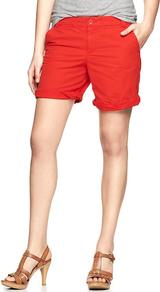 Boyfriend Roll Up Shorts - pattern: plain; style: shorts; pocket detail: small back pockets, pockets at the sides; length: mid thigh shorts; waist: mid/regular rise; predominant colour: true red; occasions: casual, holiday; fibres: cotton - 100%; jeans & bottoms detail: turn ups; texture group: cotton feel fabrics; fit: straight leg; pattern type: fabric