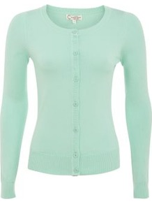 Mint Green Crew Neck Cardigan - neckline: round neck; pattern: plain; predominant colour: pistachio; occasions: casual; length: standard; style: standard; fibres: cotton - mix; fit: slim fit; sleeve length: long sleeve; sleeve style: standard; texture group: knits/crochet; pattern type: knitted - fine stitch
