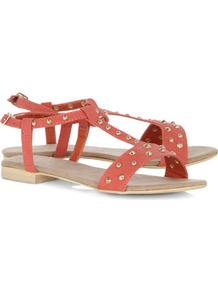 Coral Studded H Bar Sandals - predominant colour: coral; occasions: casual, holiday; material: faux leather; heel height: flat; embellishment: studs; ankle detail: ankle strap; heel: standard; toe: open toe/peeptoe; style: standard; finish: plain; pattern: plain
