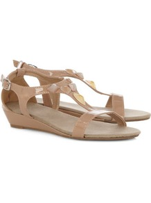 Stone Patent H Bar Sandals - predominant colour: nude; occasions: casual, holiday; material: faux leather; heel height: mid; embellishment: studs; ankle detail: ankle strap; heel: wedge; toe: open toe/peeptoe; style: standard; finish: patent; pattern: plain