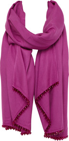 Theresa Wrap - predominant colour: hot pink; occasions: casual, evening, occasion, holiday; type of pattern: standard; style: wrap; size: large; material: fabric; embellishment: beading; pattern: plain
