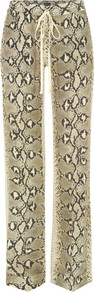4010 Stone Snake Print Silk Pyjama Trousers - length: standard; waist detail: elasticated waist; waist: mid/regular rise; predominant colour: stone; occasions: casual, evening; fibres: silk - 100%; texture group: silky - light; fit: straight leg; pattern type: fabric; pattern size: big & busy; pattern: animal print; style: standard