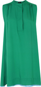 6246 Liv Emerald Dress - style: trapeze; fit: loose; pattern: plain; sleeve style: sleeveless; predominant colour: emerald green; occasions: casual, evening; length: just above the knee; fibres: silk - 100%; neckline: crew; sleeve length: sleeveless; texture group: silky - light; pattern type: fabric; pattern size: standard