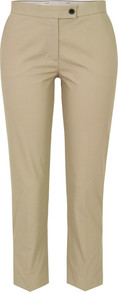 3085 Quentin Beige Cropped Trousers - pattern: plain; waist: mid/regular rise; predominant colour: camel; occasions: casual, work, holiday; length: ankle length; style: chino; fibres: cotton - stretch; fit: slim leg; pattern type: fabric; pattern size: standard; texture group: woven light midweight