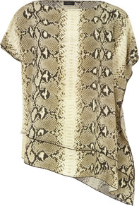 3583 Ines Stone Snake Print Silk Top - neckline: slash/boat neckline; length: below the bottom; predominant colour: taupe; occasions: evening; style: top; fibres: silk - 100%; fit: straight cut; sleeve length: short sleeve; sleeve style: standard; texture group: silky - light; pattern type: fabric; pattern size: standard; pattern: animal print