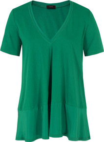 0703 Ada Emerald Top - neckline: low v-neck; pattern: plain; length: below the bottom; predominant colour: emerald green; occasions: casual, evening; style: top; fibres: cotton - 100%; fit: loose; sleeve length: short sleeve; sleeve style: standard; pattern type: fabric; pattern size: standard; texture group: jersey - stretchy/drapey