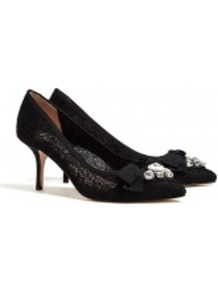 Black Lace Marrakech Mid Heel Pumps - predominant colour: black; occasions: evening, work, occasion; material: lace; heel height: high; embellishment: crystals; heel: stiletto; toe: pointed toe; style: courts; finish: plain; pattern: plain