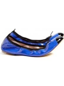 Blue Patent Luxury Ballet Pumps - predominant colour: royal blue; occasions: casual; material: leather; heel height: flat; toe: round toe; style: ballerinas / pumps; finish: patent; pattern: plain