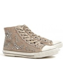 Taupe Vibration Studded Leather High Top Trainers - predominant colour: taupe; occasions: casual; material: leather; heel height: flat; embellishment: studs; heel: standard; toe: round toe; boot length: ankle boot; style: high top; trends: sporty redux; finish: plain; pattern: plain
