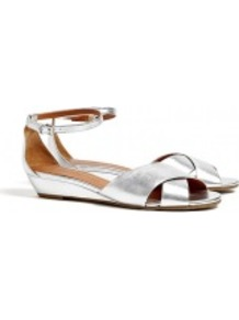 Peaces Metallic Low Wedge Sandals - predominant colour: silver; occasions: casual, evening, holiday; material: leather; heel height: mid; embellishment: buckles; ankle detail: ankle strap; heel: wedge; toe: open toe/peeptoe; style: standard; trends: metallics; finish: metallic; pattern: plain