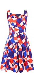 Taboo Print Silk Dress - sleeve style: sleeveless; style: prom dress; waist detail: structured pleats at waist; secondary colour: bright orange; occasions: evening, occasion; length: just above the knee; fit: fitted at waist & bust; fibres: silk - mix; hip detail: structured pleats at hip; predominant colour: multicoloured; sleeve length: sleeveless; texture group: cotton feel fabrics; trends: volume, modern geometrics; neckline: low square neck; pattern type: fabric; pattern size: big & busy; pattern: patterned/print