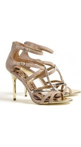 Nude Alena Suede Sandals - predominant colour: stone; occasions: evening, occasion, holiday; material: leather; heel height: high; ankle detail: ankle strap; heel: stiletto; toe: open toe/peeptoe; style: strappy; trends: metallics; finish: plain; pattern: plain; embellishment: chain/metal