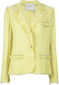 Tweed Jacket - style: single breasted blazer; collar: standard lapel/rever collar; pattern: herringbone/tweed; predominant colour: primrose yellow; occasions: casual, evening, work, occasion; length: standard; fit: tailored/fitted; fibres: cotton - mix; sleeve length: long sleeve; sleeve style: standard; collar break: medium; pattern type: fabric; pattern size: standard; texture group: tweed - light/midweight