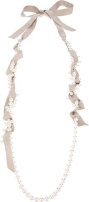 Long Necklace - predominant colour: taupe; occasions: evening, work, occasion; style: standard; length: long; size: standard; material: chain/metal; finish: plain; embellishment: pearls