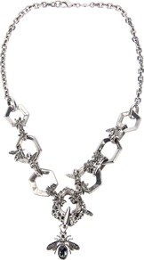Hexagon And Bee Skull Necklace - predominant colour: silver; occasions: evening, work, occasion; style: pendant; length: mid; size: large/oversized; material: chain/metal; trends: metallics; finish: metallic; embellishment: jewels