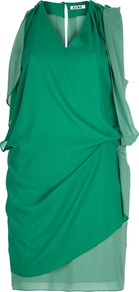Draped Dress - style: shift; length: mid thigh; neckline: v-neck; pattern: plain; sleeve style: sleeveless; fit: bias; waist detail: twist front waist detail/nipped in at waist on one side/soft pleats/draping/ruching/gathering waist detail; predominant colour: emerald green; occasions: evening, occasion; fibres: polyester/polyamide - 100%; shoulder detail: flat/draping pleats/ruching/gathering at shoulder; back detail: keyhole/peephole detail at back; sleeve length: sleeveless; trends: glamorous day shifts, volume; hip detail: ruffles/tiers/tie detail at hip; pattern type: fabric; pattern size: standard; texture group: jersey - stretchy/drapey