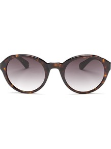 Edie Round Sunglasses - predominant colour: chocolate brown; occasions: casual, holiday; style: round; size: large; material: plastic/rubber; pattern: tortoiseshell; finish: plain