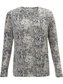 Flora Snakeskin Print Tee - neckline: round neck; secondary colour: ivory; predominant colour: mid grey; occasions: casual, work; length: standard; style: top; fibres: cotton - mix; fit: body skimming; sleeve length: long sleeve; sleeve style: standard; texture group: cotton feel fabrics; pattern type: fabric; pattern size: small &amp; busy; pattern: animal print