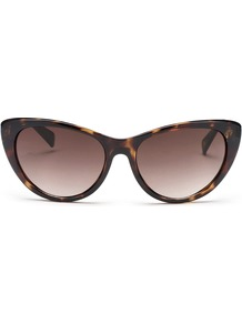 Audrey Catseye Sunglasses - predominant colour: chocolate brown; secondary colour: tan; occasions: casual, holiday; style: cateye; size: standard; material: plastic/rubber; pattern: tortoiseshell; finish: plain