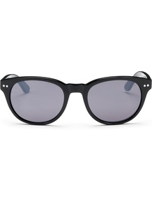 Faye Mirrored Sunglasses - predominant colour: black; occasions: casual, holiday; style: round; size: standard; material: plastic/rubber; pattern: plain; finish: plain