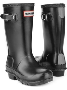 Original Wellies - predominant colour: black; occasions: casual; material: plastic/rubber; heel height: flat; embellishment: buckles; heel: block; toe: round toe; boot length: mid calf; style: wellies; finish: plain; pattern: plain