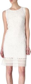 Jette Floral Lace Dress - style: shift; fit: tailored/fitted; pattern: plain; sleeve style: sleeveless; waist detail: fitted waist; predominant colour: white; occasions: evening, occasion; length: just above the knee; fibres: viscose/rayon - 100%; neckline: crew; sleeve length: sleeveless; texture group: lace; pattern type: fabric; embellishment: lace