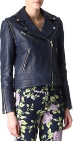Bowery Leather Biker Jacket - pattern: plain; style: biker; collar: asymmetric biker; fit: slim fit; predominant colour: navy; occasions: casual, evening, work; length: standard; fibres: leather - 100%; sleeve length: long sleeve; sleeve style: standard; texture group: leather; collar break: medium; pattern type: fabric
