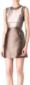 Satin And Organza Dress - style: a-line; length: mini; fit: fitted at waist; pattern: plain; sleeve style: sleeveless; waist detail: fitted waist; back detail: contrast pattern/fabric at back; predominant colour: taupe; secondary colour: bronze; occasions: evening, occasion; fibres: silk - mix; neckline: crew; sleeve length: sleeveless; texture group: sheer fabrics/chiffon/organza etc.; trends: metallics; pattern type: fabric; pattern size: standard