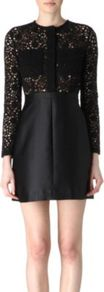 Lace And Satin Dress - style: shift; length: mini; fit: tailored/fitted; pattern: plain; predominant colour: black; occasions: evening; fibres: cotton - mix; neckline: crew; bust detail: contrast pattern/fabric/detail at bust; sleeve length: long sleeve; sleeve style: standard; texture group: structured shiny - satin/tafetta/silk etc.; pattern type: fabric; embellishment: lace