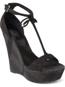 Lingards Leather Wedge Sandals - predominant colour: black; occasions: casual, evening; material: leather; heel height: high; ankle detail: ankle tie; heel: wedge; toe: open toe/peeptoe; style: standard; finish: plain; pattern: checked/gingham