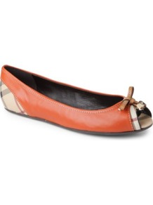 Haymarket Romsey Leather Pumps - predominant colour: bright orange; occasions: casual, evening, work; material: leather; heel height: flat; toe: open toe/peeptoe; style: ballerinas / pumps; trends: statement prints; finish: plain; pattern: plain; embellishment: bow
