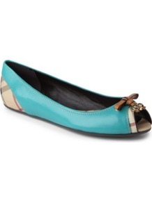 Haymarket Romsey Leather Pumps - predominant colour: turquoise; occasions: casual, evening, work, holiday; material: leather; heel height: flat; toe: open toe/peeptoe; style: ballerinas / pumps; trends: statement prints; finish: patent; pattern: plain; embellishment: bow
